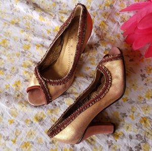Kenzie Bristol Rose Gold Sueded Leather Heels